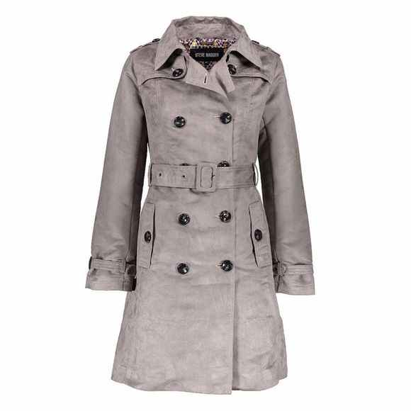 575e52d88a8 STEVE MADDEN  NWT Grey Double Breasted Trench Coat